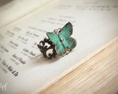 Verdigris Butterfly Bohemian Ring adjustable rustic romantic nature inspired, sale, gift under 10