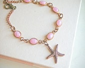ON SALE! Summer Bracelet, Island, vintage dusty pink opaque glass stones and starfish charm, summer fashion