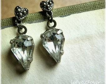 Sterling Silver Earrings -Crystal nights-  Vintage jewels on victorian oxidized sterling silver earstuds, small stud drop earrings