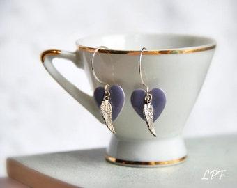 Earrings, Love has wings- purple enamel hearts on sterling silver, angel, love, romance, winged hearts, Valentine's gift