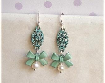 Teal Romantic Earrings -Riviera- bow pearls verdigris elegant mint green earrings, girly elegant bow pearl earrings