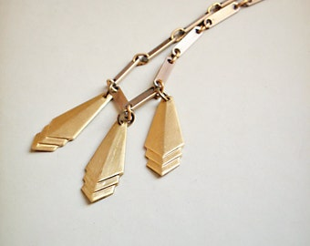 Necklace -Soleil- Vintage Brass Geometric Minimalistic Art deco inspired, Urban Romance Collection