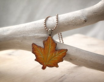 Wearable art, Handpainted Maple Leaf Necklace, wooden pendant on antique copper ball chain, natural, eco friendly, ooak, sale, gift under 15