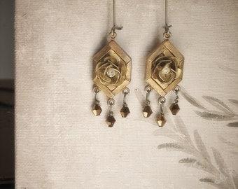 Vintage Brass Chandelier Earrings, Persephone, vintage brass roses, elegant romantic art deco statement earrings, gift under 15