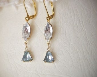Vintage jewels earrings, Narnia, clear crystal navettes and aqua glass drops on gold earwires, bridal, sale, gift under 15
