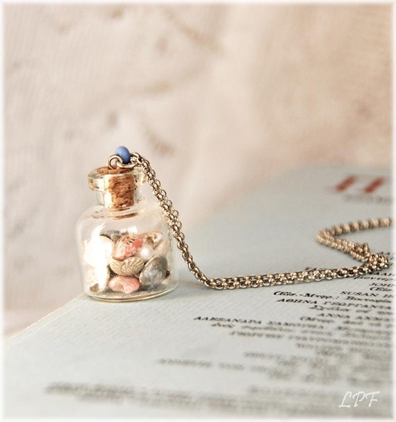 Glass Bottle Necklace, Seashells and Freshwater Pearl -A Day at the Shore- Shabby Chic, Eco Friendly