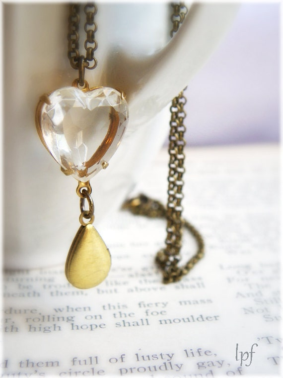 Vintage Crystal Heart and Brass Locket Necklace- Secrets of my Heart
