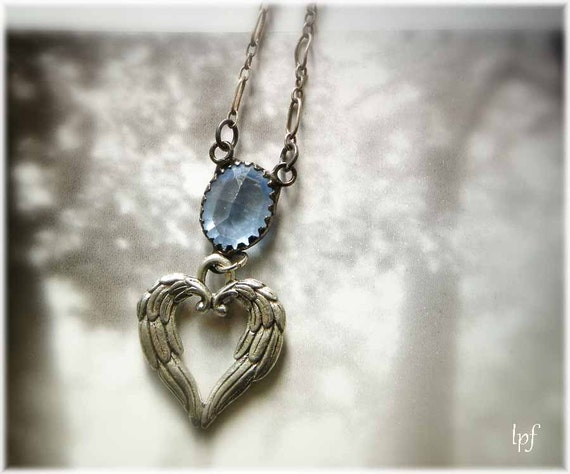 Romantic Necklace, Wings of Love, silver winged gothic open heart, vintage blue czech glass, sterling silver chain