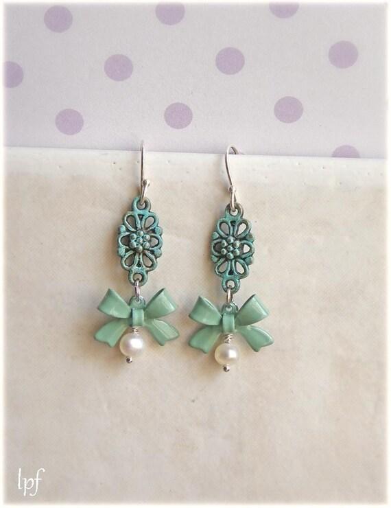 Teal Romantic Earrings -Riviera- bow pearls verdigris elegant mint green earrings, holiday sale, gift under 15