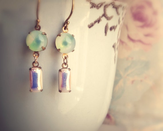 Reserved listing for Eleni- Earrings, Vintage mint and white jewels on brass. Caramelle Menthe