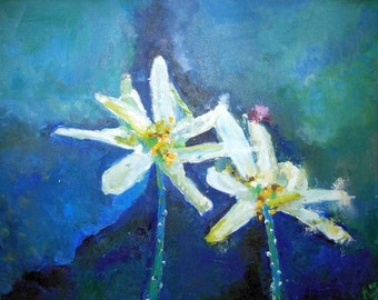 WATER LILIES- original oil flower painting on canvas - 16 X 20 inches- made to order