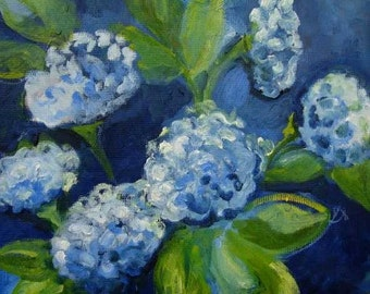 Blue hydrageas- original oil painting on canvas - 16 X 16 inches- not framed- made to order