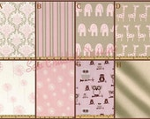 Custom 2 PIece Crib Bedding - Bumpers and Box style Skirt in pink, beige and white