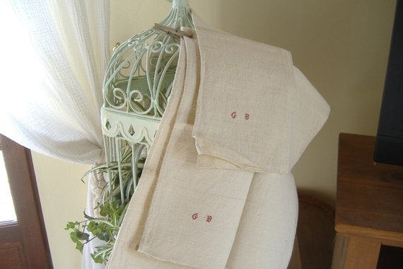 REDUCED...3 xc1920 vintage handmade unused rustic French pure linen monogram GB torchons or towels