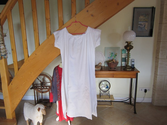 c1950's Handsewn vintage monogram French cotton nightgown use or rework