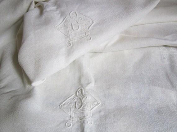 "Vintage French linen weave damask double monogram SB tablecloth 63"" x 94"""