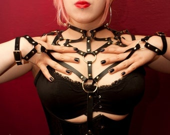 Leather Harness- Queen of the Nile- BDSM Harness, Costume, Fetish Wear