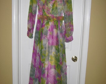REDUCED JACK BRYAN Long Sleeved Shirtwaist Chiffon Long Dress - Small