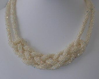 celtic woven kumihimo rope pearl necklace