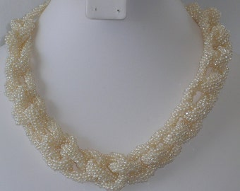 16 inch  crocheted pearl necklace