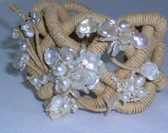Raffia Fiber  Pearl Bracelet Natural Color Braided