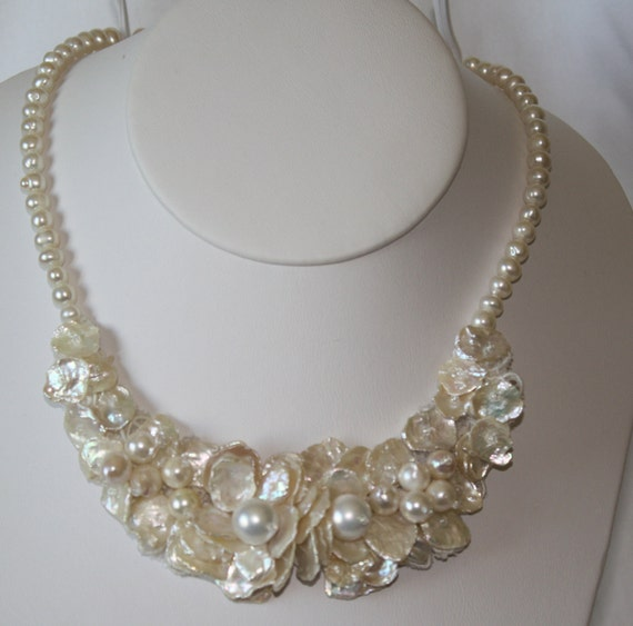 Keishi Wedding Floral pearl necklace