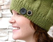 Cute as a Button Cable Knit Hat