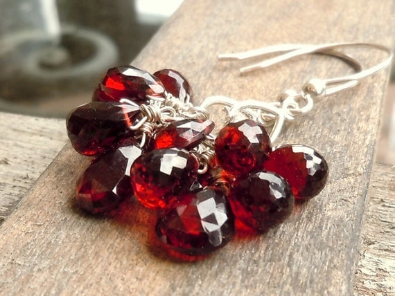 Red Garnet Earrings Sterling Silver Dangling Cluster Earrings Long & Romantic
