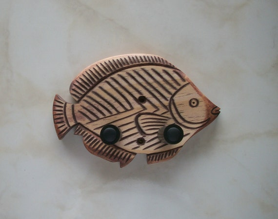 Unique hand carved ukulele wall mount hanger, trigger fish, red mahogany stain.