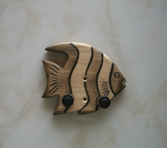 Unique hand carved ukulele wall mount hanger, striped fish.