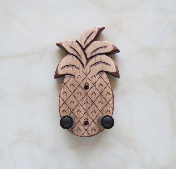 Unique ukulele wall mount hanger, hand carved pineapple, red mahogany