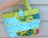 Girl's Purse, Lime, Aqua, Dots and Daisies, Perfect for Easter
