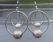sterling silver laser cut bead hoop earrings