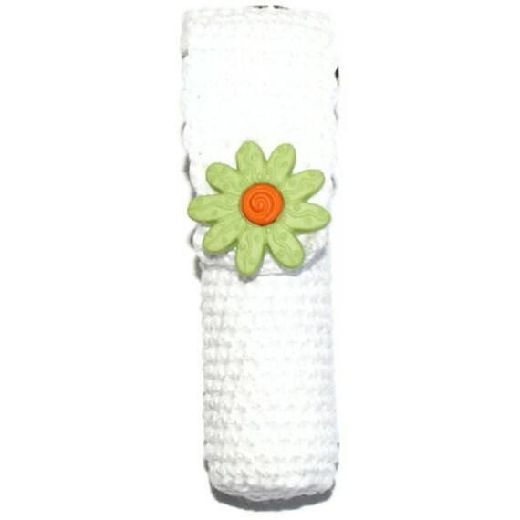 Lip Balm Holder Crochet Green Daisy