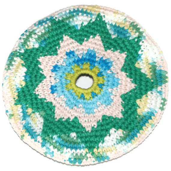 Frisbee Flying Disc Stripes Cotton Crochet