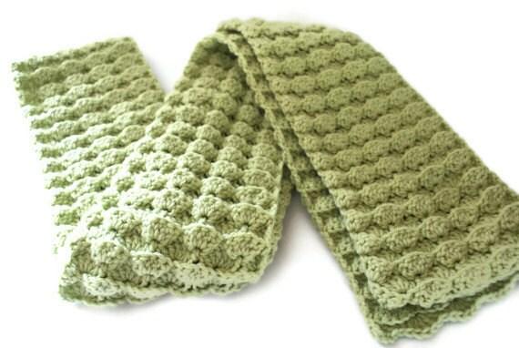 Crochet Scarf Crochet Green Scarf