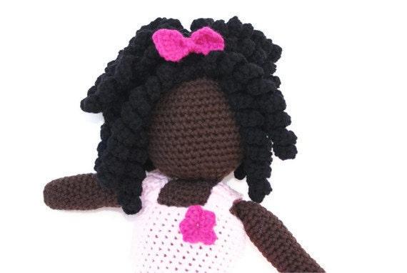 Crochet Faceless African American Doll Amigurumi with Pink Crochet Dress