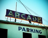 Retro Roadside Neon Arcade Roadside Sign Photograph
