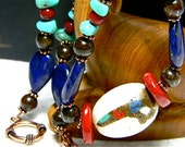 Nepalese Stone Necklace, Red Coral, Lapis  Lazuli, Turquoise