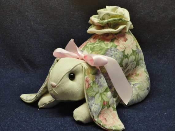 Vintage Shabby Chic  Handmade  Bunny.. Soft Muted Pastels..