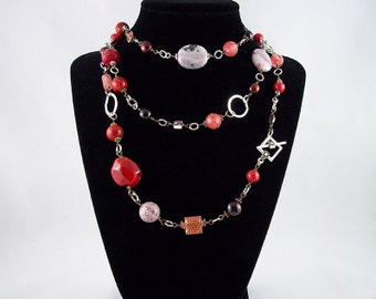 6-way Mixed Reds Gemstone Sterling Silver Necklace