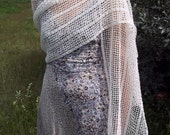 Off-white crocheted linen shawl