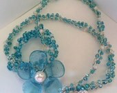 Blue Flower Necklace, Recycled Glass, Handmade Necklace, Bracelet, Choker