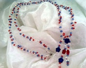 Patriotic Necklace, Red, White and Blue Necklace, Stars and Stripes Jewelry