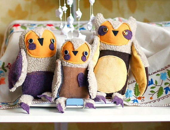Owls family, set of 3 stuffed  toys, Art soft toys by Wassupbrothers.Free shipping