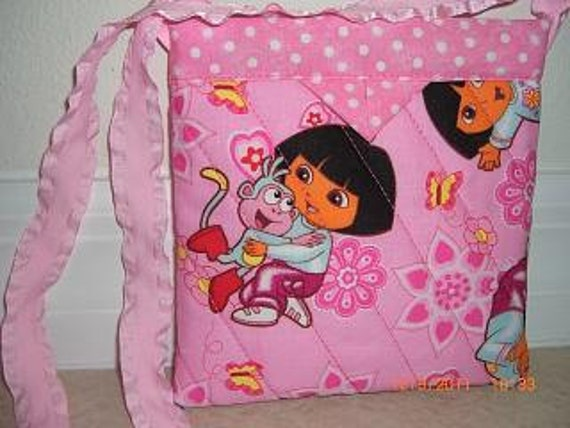 Little Girl's Purse - Dora the Explorer, Quilted Fabric Snap Bag
