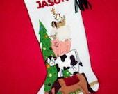 Vintage Style Christmas Stocking Crewel Embroidery Kit - Farm Animals Mantel Decoration