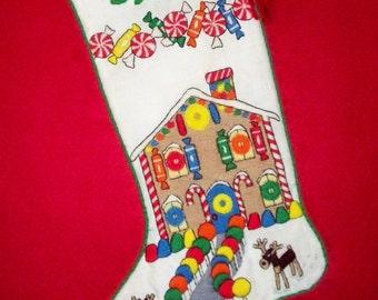 Left Facing Gingerbread Christmas Stocking Kit - Crewel Needlework Fireplace Heirloom Decoration