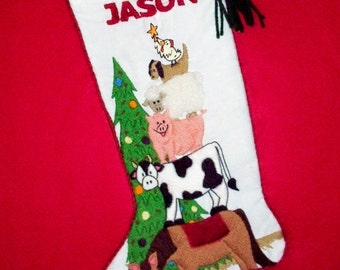Left Facing Vintage Style Christmas Stocking Crewel Embroidery Kit - Farm Animals Mantel Decoration