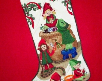 Elves Christmas Stocking Kit - Crewel Stitch Embroidery Heirloom Crafting Kit with Santas Little Helpers